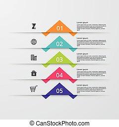 options., infographic, 5, иллюстрация, вектор