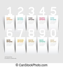options., moderno, numero, infographics