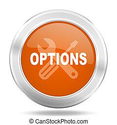 options orange icon, metallic design internet button, web and mobile app illustration