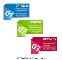 options, papier, -, une, vecteur, deux, trois