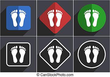 options, pied, conception, 6, icônes, ensemble, plat, toile