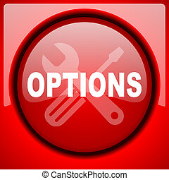 options red icon plastic glossy button