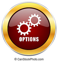 Options red web icon with golden border isolated on white background. Round glossy button.