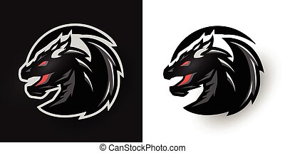 options., rond, deux, dragon, logo.
