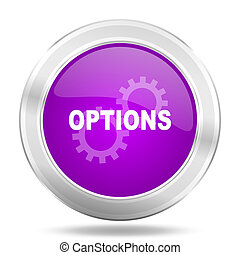 options round glossy pink silver metallic icon, modern ...