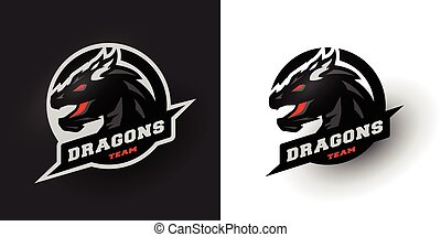 options., sport, logo., deux, dragon