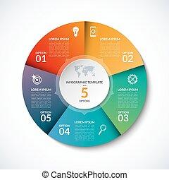 options, vecteur, gabarit, infographic, cercle, étapes, 5, parties