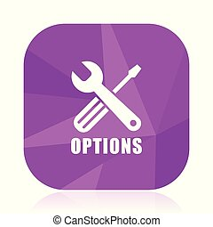 Options violet square vector web icon. Internet design and webdesign button in eps 10. Mobile application sign on white background.