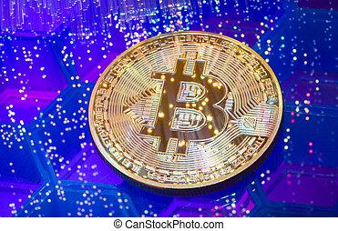 optique, argent, numérique, virtuel, ou, technologie, monnaie, bitcoin, fibre, chaîne, composition