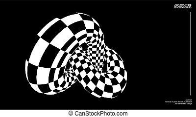 optique, arrière-plan., illusion, torus, noeud