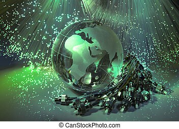 optique, contre, la terre, données, globe, fond, informatique, fibre, concept