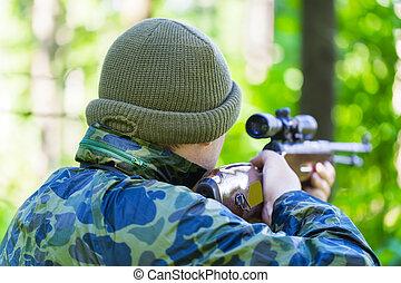 optique, homme, fusil