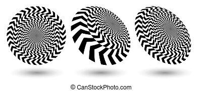 optique, noir, perspectives, différent, rond, shapes., illusion, arrows.