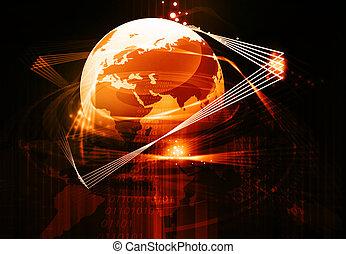 optisch, erde, kommunikation, global, faser, begriff