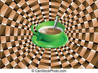 optisch, groene, illusie, kop