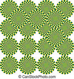 optisch, spinnen, illusie, cyclus