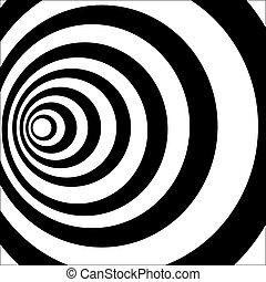 optisch, tunnel., black , witte , illusie