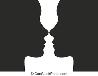 optische illusie, met, gezichten