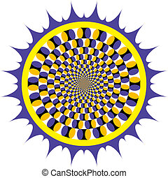 optisk, snurrande, illusion, cykel