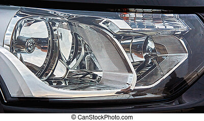 optisk, system, i, automobil, headlights.