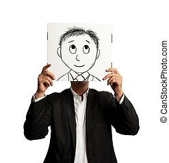 Optmist businessman with cartoon smiling designed on a sheet