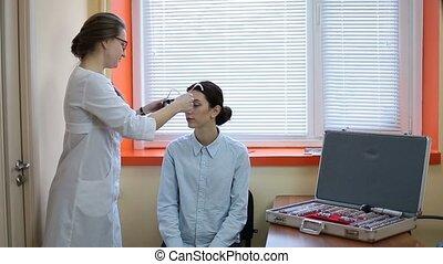 optométriste, examiner, cadre, patient, procès