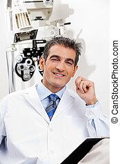optometra, uśmiechanie się, jego, klinika