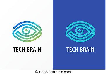 optometria, concetto, occhio, tecnologia, moderno, -, innovativo, logotipo, biotecnologia, icona