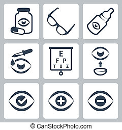 optometria, vettore, set, icone