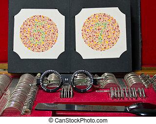 optometrie, linse, brille, und, farbe, blenden, pr�fung