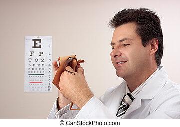 optometrist, óculos lavagem