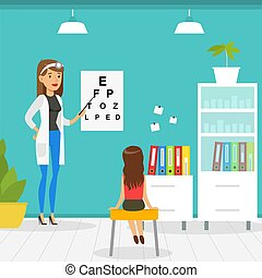 Optometrist Checking Girl Eyesight with Test Chart in Office...