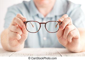 optometrist, dar, novos óculos