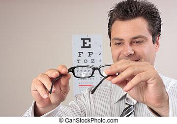 optometrist, examinando, óculos olho