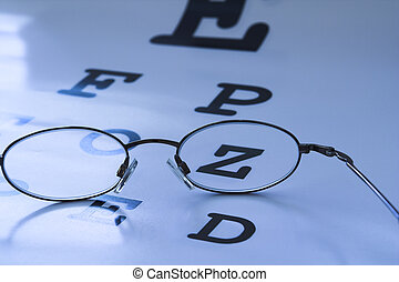 eye test chart - optometrist eye test chart blue