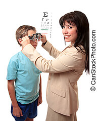 Optometrist with child