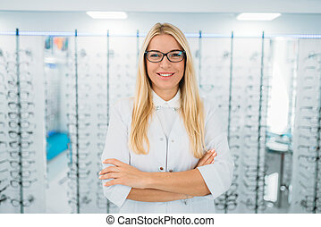 optometrista, anteojos, hembra, contra, vitrina