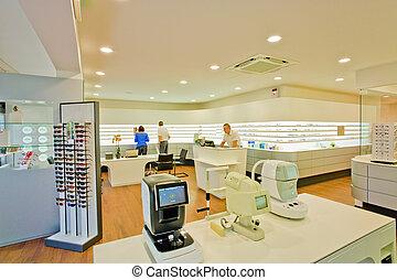 optometrists, customers and staff - opticians, business, ...