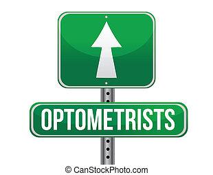 optometrists, projektować, droga, ilustracja, znak