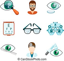 Optometry and optical icons flat set. Pipette and oculist, ...