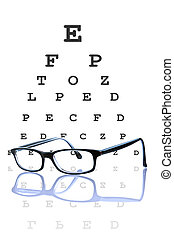 Eye glasses reflected, with optometrist chart on background.
