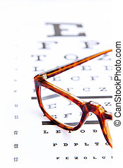 optometry concept, close up at eye glasses