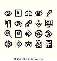 optometry, esboço, ícones