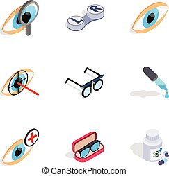 Optometry icons, isometric 3d style