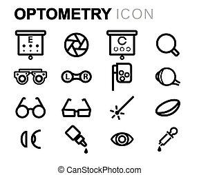 optometry, jogo, ícones, vetorial, pretas, linha