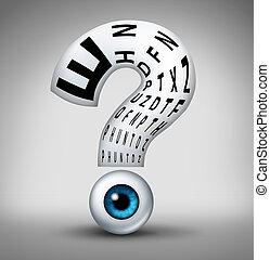 Optometry questions and human eye vision health uncertainty symbol as an eyeball with a reading chart shaped as a question mark as a concept and for optometrist and ophthalmology diagnosis.