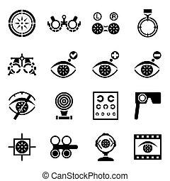 optometry, vetorial, jogo, ícone