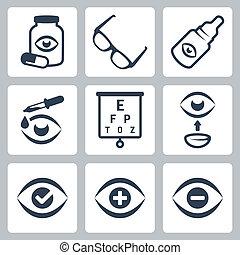 optometry, vetorial, jogo, ícones