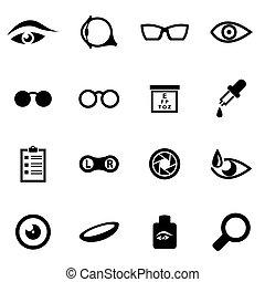 optometry, vetorial, pretas, jogo, ícone