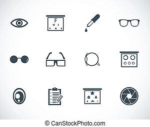 optometry, vetorial, pretas, jogo, ícones